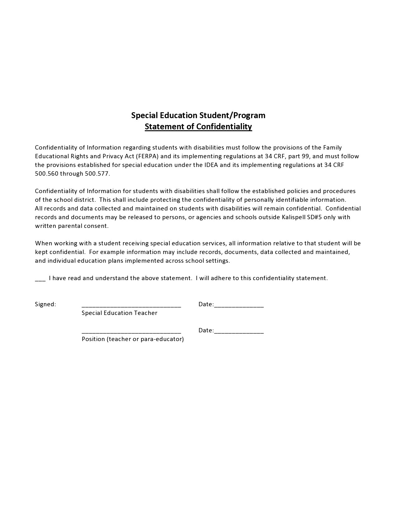 confidentiality statement template 07