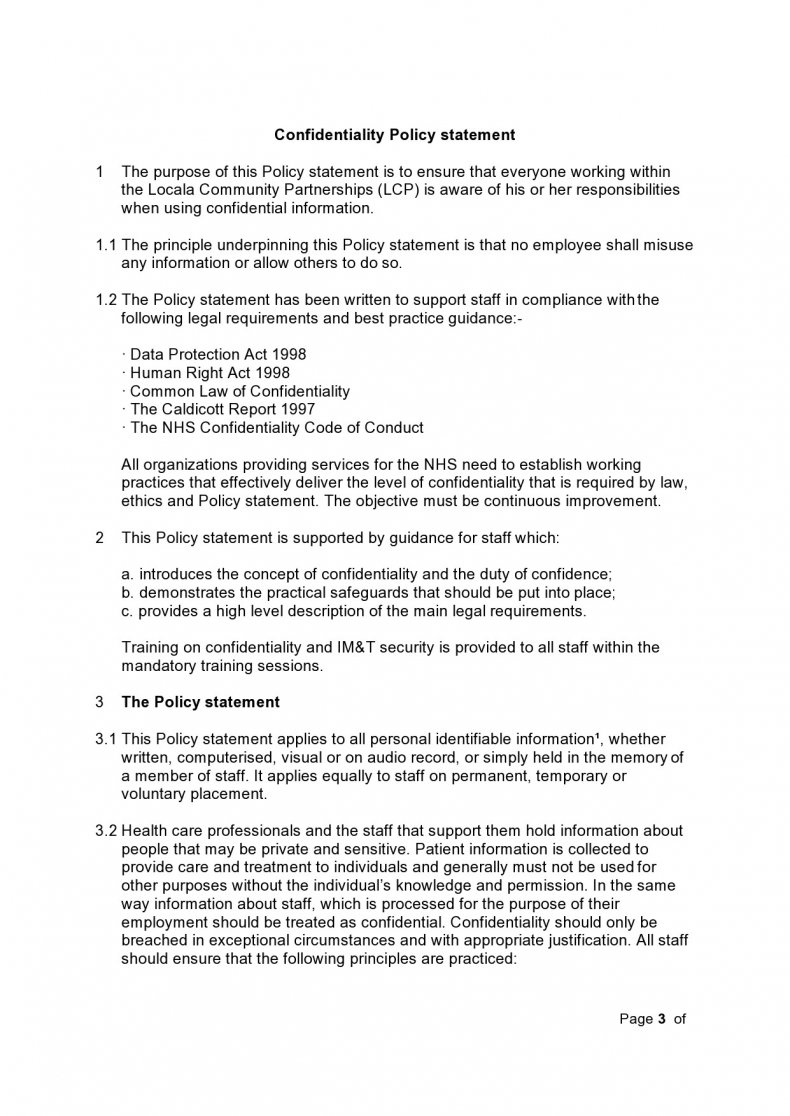 confidentiality statement template 09