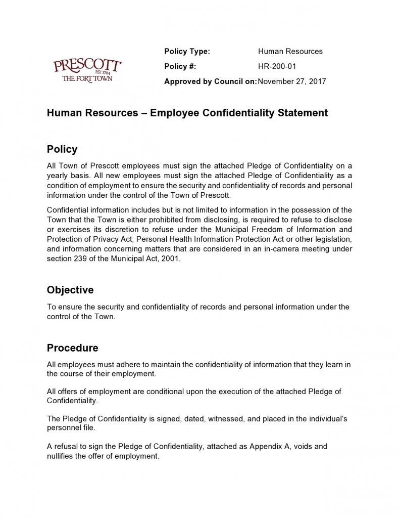 confidentiality statement template 11