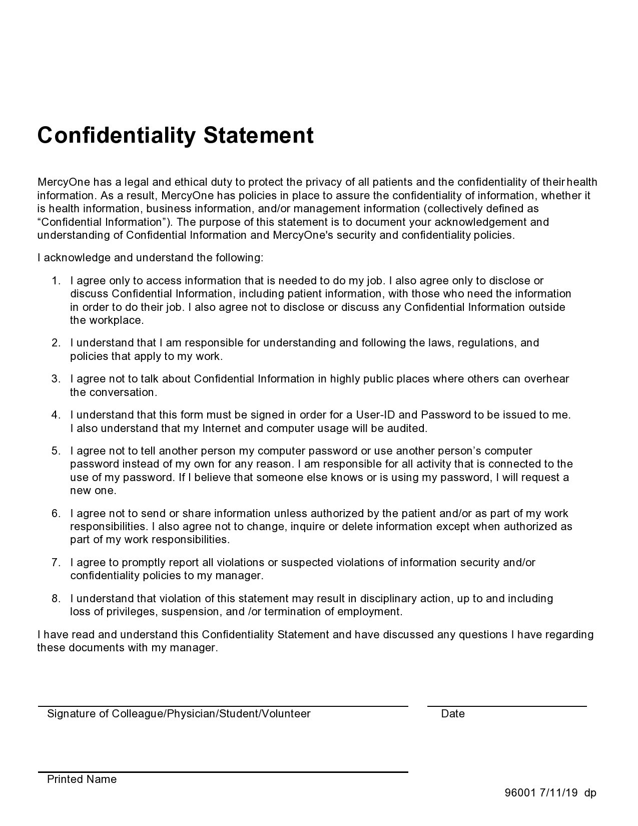 confidentiality statement template 14