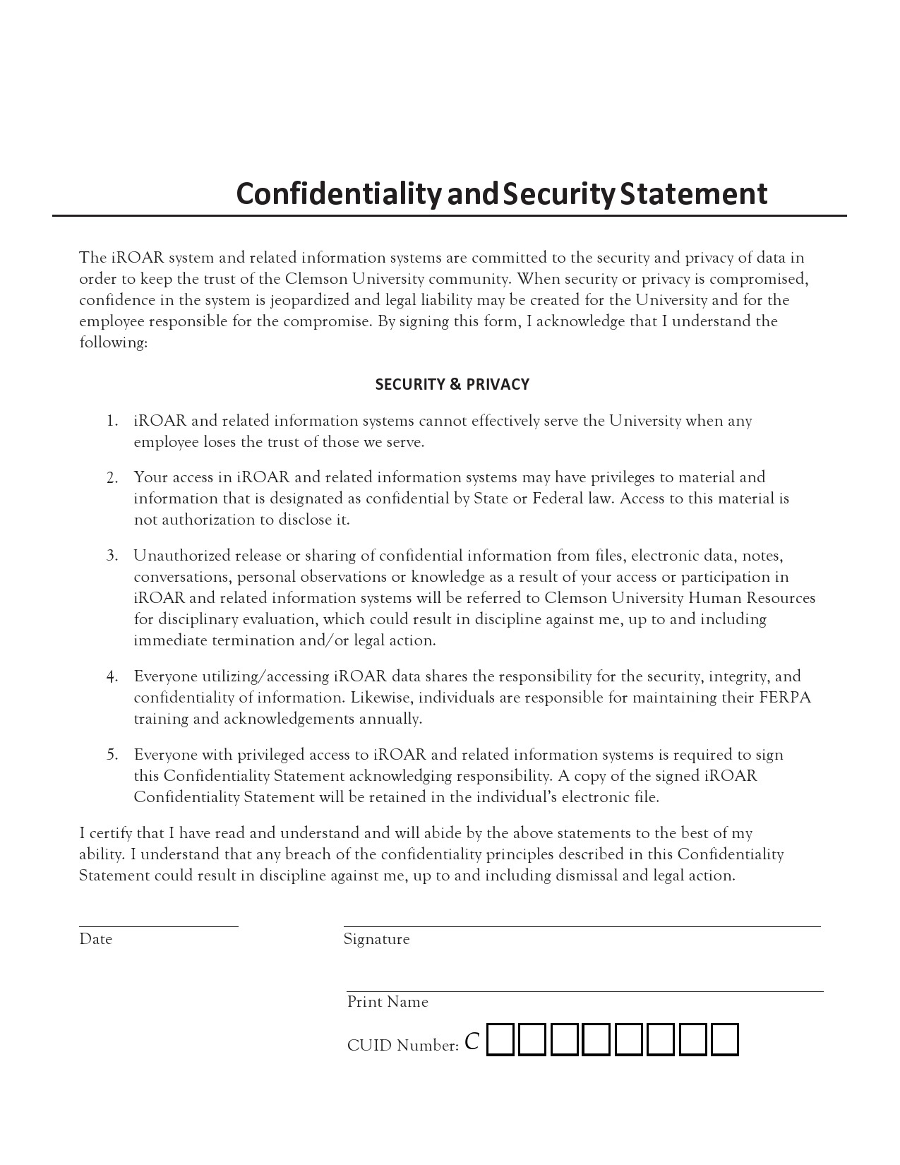 confidentiality statement template 15