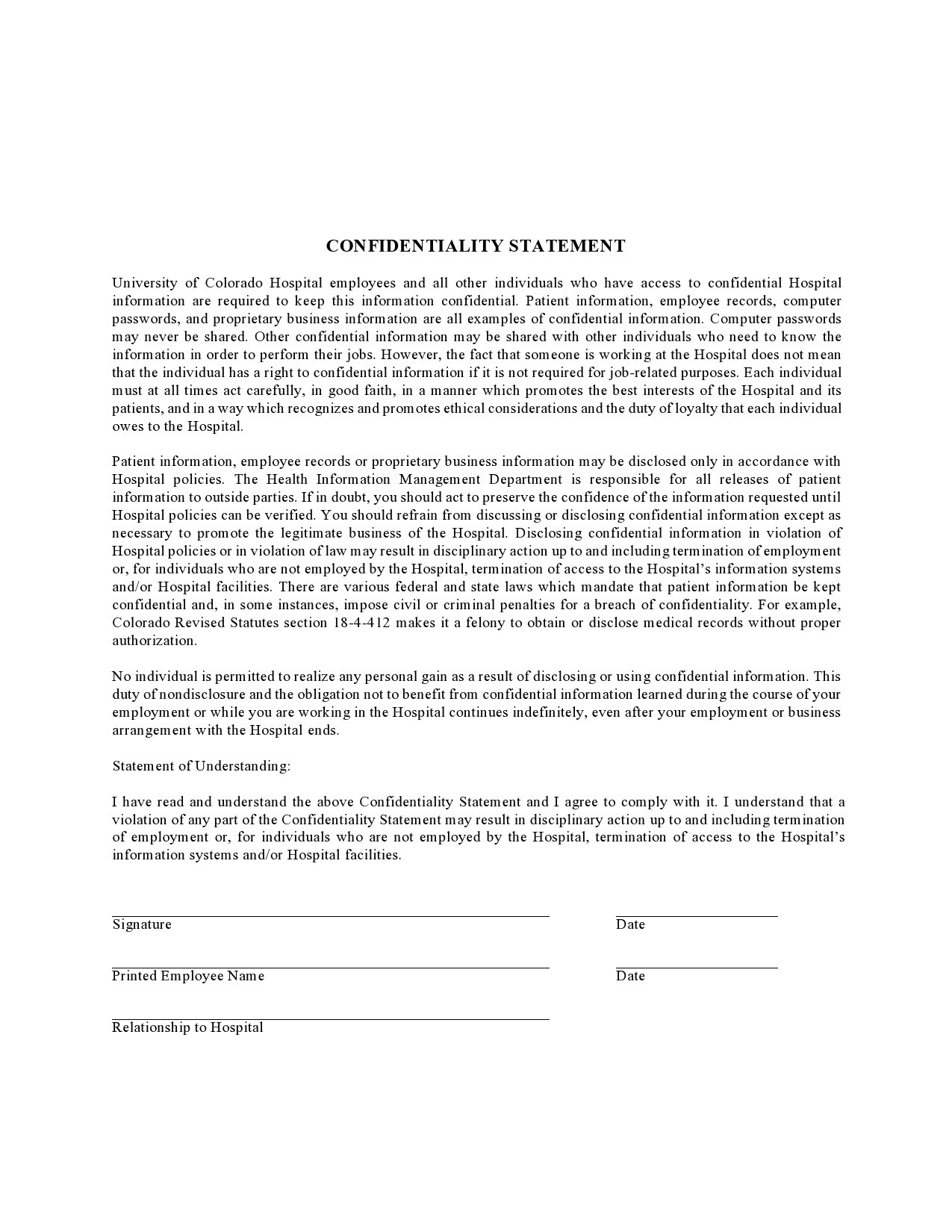 confidentiality statement template 17