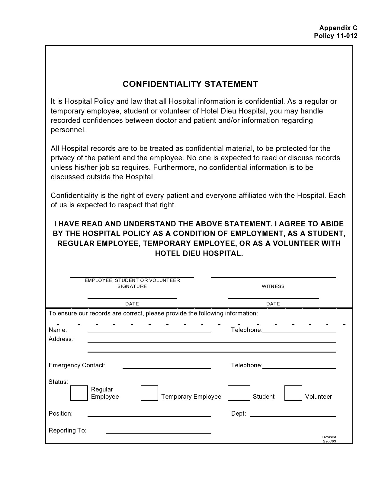 confidentiality statement template 18