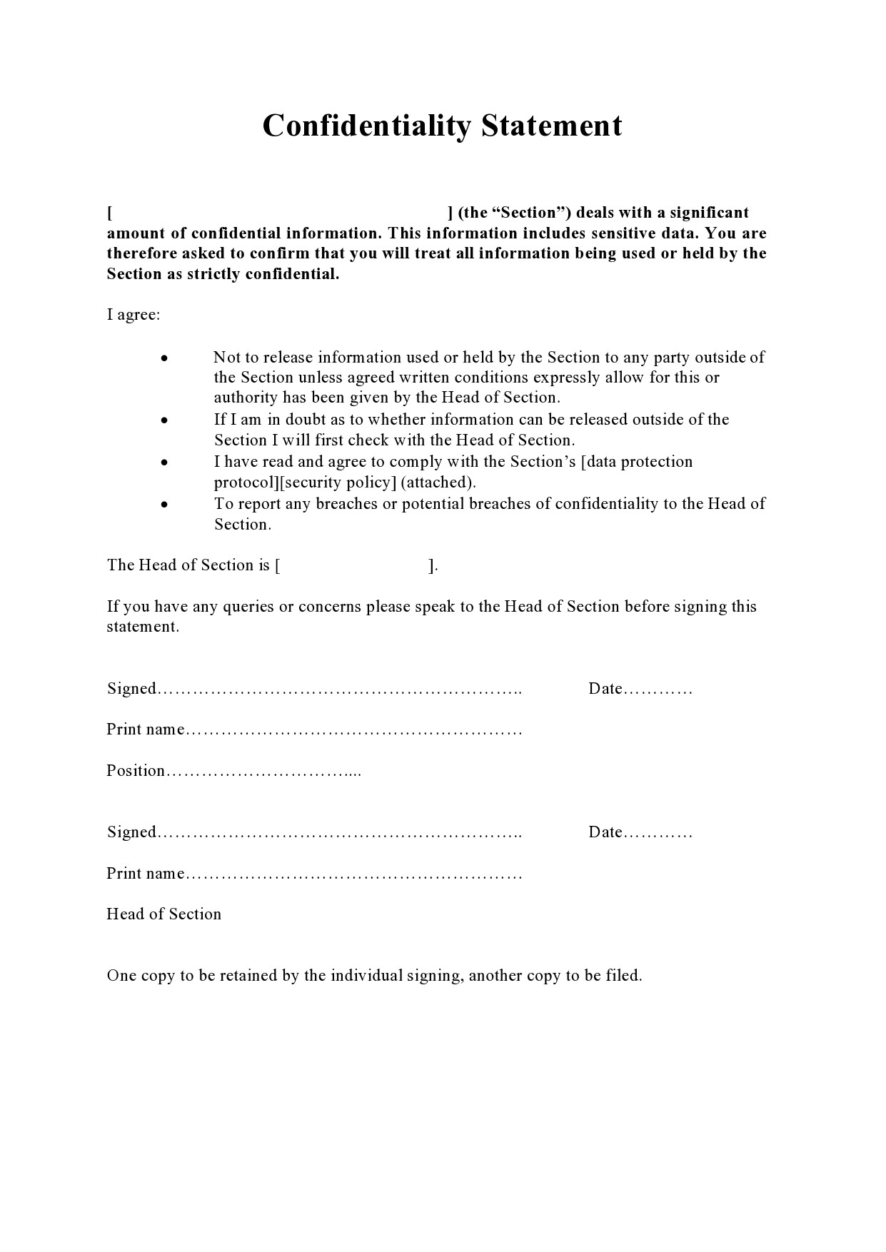 confidentiality statement template 19