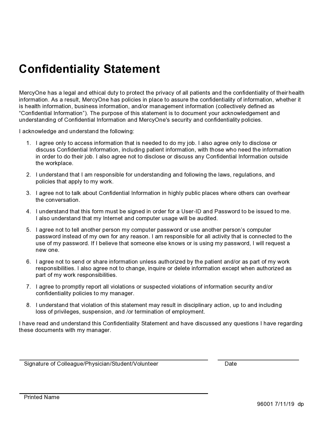 confidentiality statement template 21